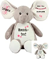 Elefant Baby-Geschenk Geschenkidee zur Geburt & Taufe personalisiert mit Namen Geburtsdaten Taufspruch
