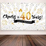 40th Birthday Party Decoration, Extra Large Fabric Black Gold Sign Poster for 40th Anniversary Photo Booth Backdrop…