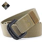 TENINE Cinturón Elástico, Cinturones Para Hombre Mujeres Cinturón Táctico Cinta Cinturones de Lona Estilo Militar D Anillo He