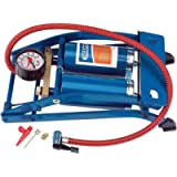 Draper 25996 Double Twin Cylinder Foot Pump with Gauge 890004, Blue
