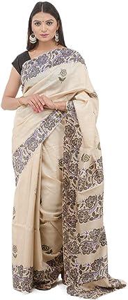 Tribes India Women's 6 m Silk Maheshwari Block Print Saree (1STXWOMCG05575_C, Multicolour)