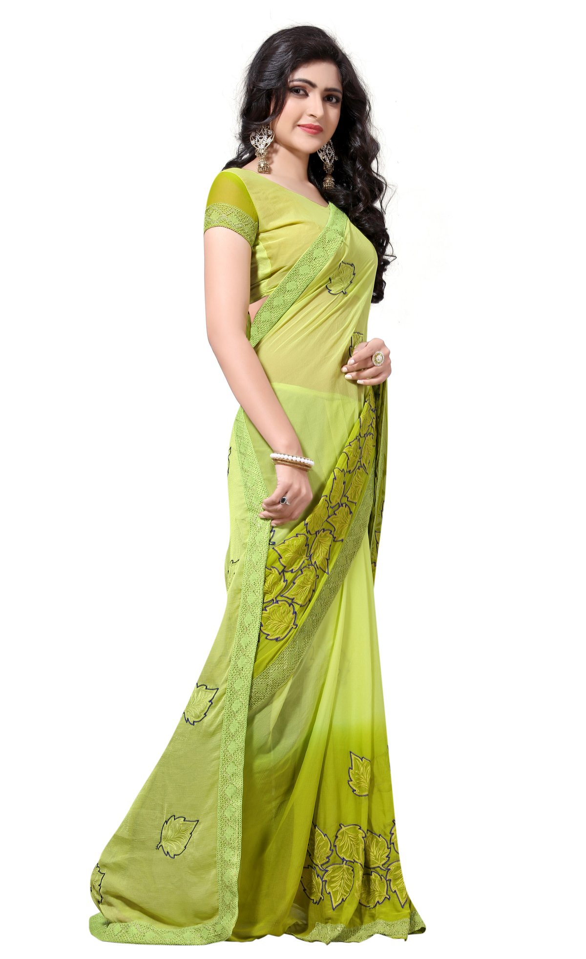 2936e8ae1cc Culture Fab Women Georgette Heavy Latest Designer Embroidery Party Wear  Party Wear Fancy Saree SareeWith Blouse Piece (Green)