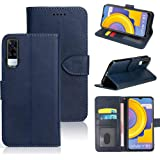 WebKreature® Leather Flip with Wallet Case with TPU Shockproof Cover for Vivo Y31(Blue)