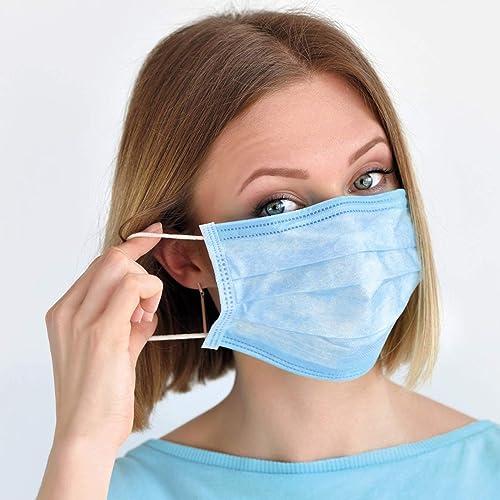 Sansin - Confezione da 50 maschere usa e getta a 3 strati, traspiranti