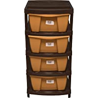 Veer Multipurpose Plastic Modular 4 Drawer System, Chest Storage Organizer Set (Brown)