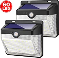 Luce Solare Esterno, Kilponen 60 LED Lampada Solare con Sensore di Movimento [2000mAh] Luci Solari da Parete 270º...