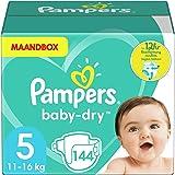 Pampers Maat 5 Luiers (10-15 kg), Baby-Dry, 144 Stuks, MAANDBOX, Tot 12 uur Bescherming rondom tegen Lekken