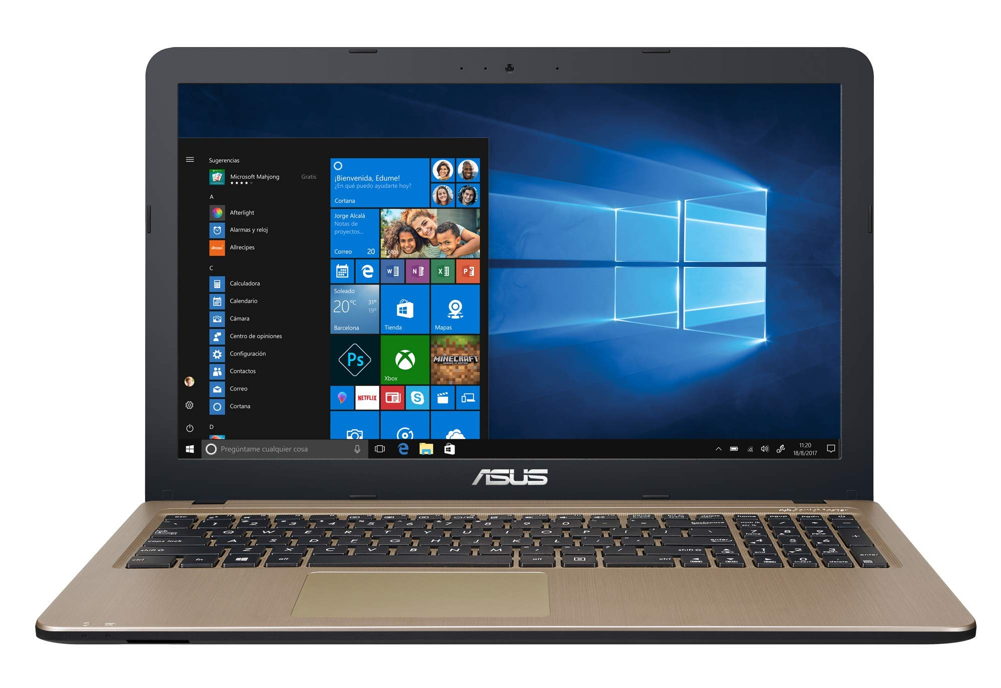 ASUS – Ordenador portátil DE 15.6″ HD (8 GB RAM, Windows 10 Original) – Teclado QWERTY Español