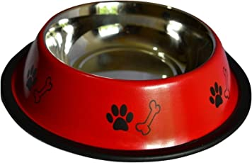 Pet Needs High Quality Stainless Steel Non Slippery Food Bowls-Red (Medium-750 ml)