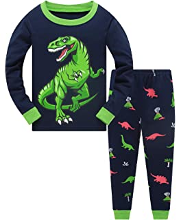 Popshion Boys Pyjamas Set Glow in The Dark Dinosaur Pjs for Boys 100/% Cotton Long Sleeve Nightwear Sleepwear 2 Piece Outfit for Toddler Clothes 2-10 Years