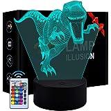 3D LED lumière de Nuit de Dinosaure 3 modèle et 7 Changement de Couleur Decor Lampe avec télécommande pour Enfants Filles gar