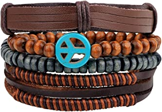 The Jewelbox 100% Genuine Handcrafted Wrist Band Multi Strand Bracelet Men Boys Gift
