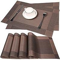 Fontic Lot de 6 Sets de Table lavables PVC Antidérapant Respectueux de l'environnement (Couleur café), 30 x 45 cm