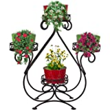 Nuha Metal Heart Shape Planter Stand With 4 Pots, Black, Pot: 21.6 cm, Stand : Height: 71 cm, Length 76 cm, 1 Piece