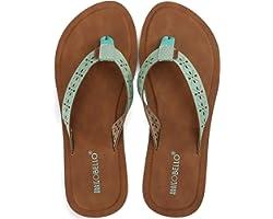 ARRIGO BELLO Flip Flops Women Sandals Leather Soft Comfortable Non-Slip Ladies Summer Slippers Beach Pool Size 4-7UK