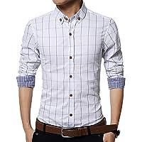 YINFEI Chemise Homme à Carreaux Chemise Homme Slim Fit Business Casual