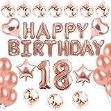 sancuanyi 18 Geburtstag Dekoration – 39 Stück Geburtstag Deko, Happy Birthday Banner, 18 deko Geburtstag für Mädchen und…