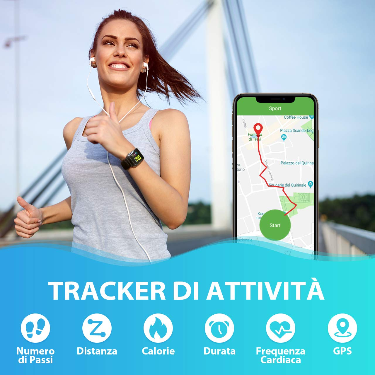 Seneo Smartwatch IP68, Orologio Fitness Tracker Uomo Donna