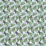 Tukan Vögel und tropische Palme Blätter 100% Baumwolle
