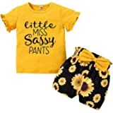 FYMNSI Disfraz floral de verano para niña pequeña y niña, pantalones cortos de algodón, 2 piezas, ropa informal para 18 meses