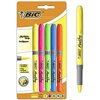 BIC Highlighter Grip Surligneurs Couleurs Fluo Assorties - 4 Standards et 1 Décoré - Tracé Confortable - Blister Format…
