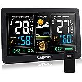 Kalawen Stazione Meteo Automatica Digitale Wireless Meteorologica con Ampio Schermo LCD Display Sveglia Tempo Data Temperatur