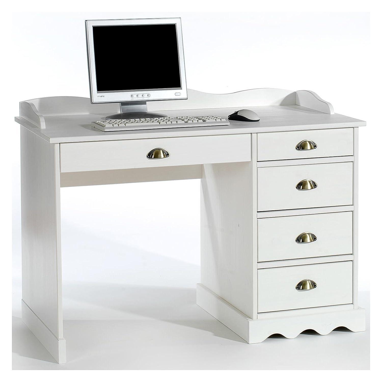 Eckschreibtisch weiß mit aufsatz  Schreibtisch Bürotisch COLETTE Arbeitstisch mit Aufsatz, Kiefer ...