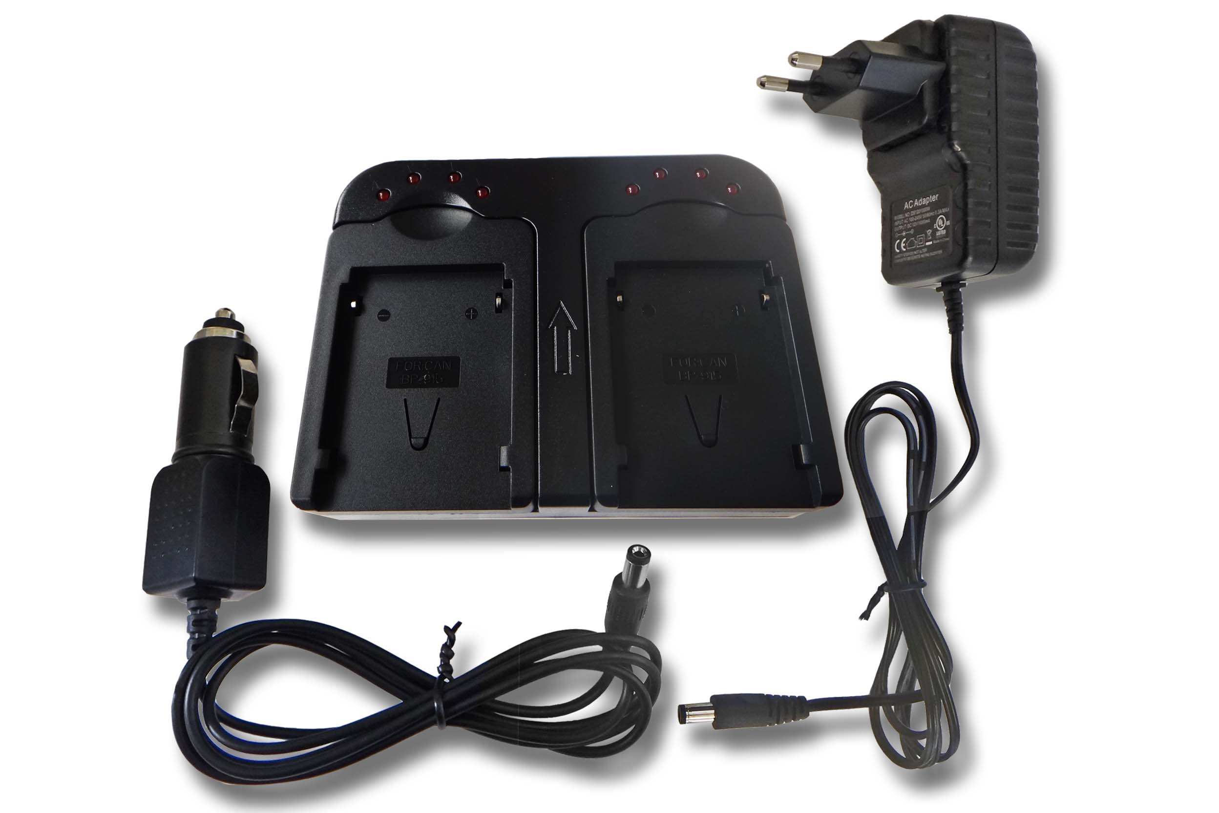 Caricabatterie doppio include Adattatore Automobile per Batteria Canon BP-911, BP-914, BP-915, BP-9