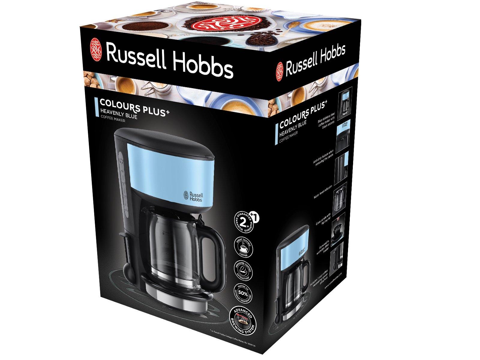 Russell-Hobbs-20136-56-Glas-Kaffeemaschine-Colours-Plus-Heavenly-Blue-125l-Brausekopf-Technologie-Glaskanne-1000-Watt-20136-56-schwarzblau