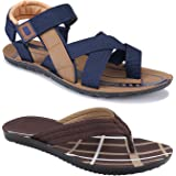 Birde Multicolor PU Sandal for Men's & Boys (Combo of 2)