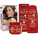 L'Oréal Paris Kit Cura & Colore Capelli Castano, Box con Tinta Capelli Excellence Castano Chiaro 5, Shampoo, Balsamo e Masche