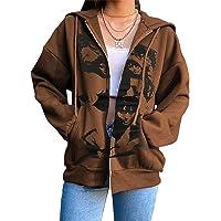 Y2k – Sweat à capuche zippé surdimensionné avec poche pour femme imprimé squelette gothique