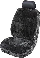 Torrex® Lammfell-Sitzbezug - kein Patchwork - Vollbezug mit allgemeiner Betriebserlaubnis (Abe) Universalgröße (Farbe Schwarz)