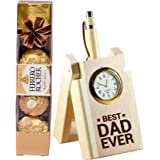 TIED RIBBONS Fathers Day Gift for Dad from Son and Daughter Dad Ever Printed Table Top Pen Stand with Pen and Ferrero Chocola