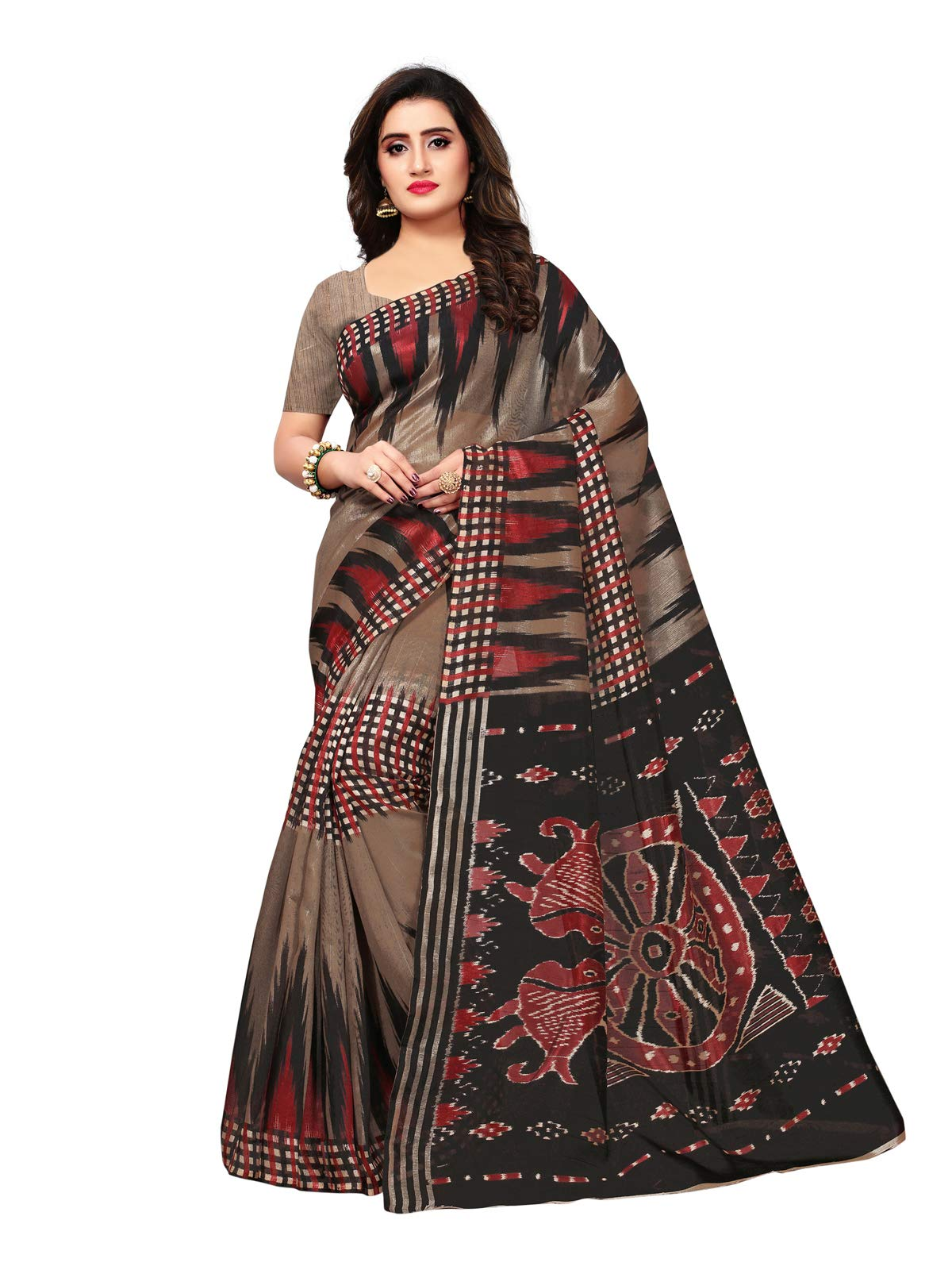 Kanchnar Women's Bhagalpuri Silk Printed Saree with Blouse