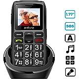 Artfone Mobiltelefon Seniorenhandy mit großen Tasten und ohne Vertrag, Mit Notruf-Knopf und 1400 mAh Akku, Großtastenhandy mit Ladestation und 1,77 Zoll Farbdisplay