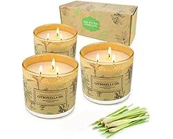 Yinuo Candle® Bougies Citronnelle,Ensemble de Trois 3 Mèches 255-300 Heures de Combustion Bougie Citronelle,Bougies citronnel