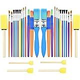 30PCS Colorful Kids PAINT BRUSH Set, Childrens Paint Brushes Starter kit for Watercolor, Oil, Acrylic, Paints, Paintbrush, Sp