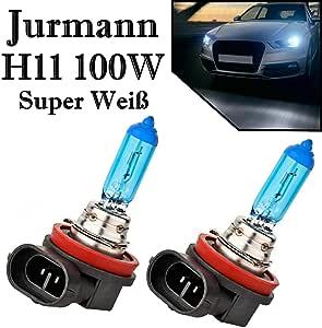 2x Jur Mann H11 100w 12v Super Weiß 6000k Xenon Look Ersatz Halogen Birne Für Scheinwerfer Fernlicht Abblendlicht Nebelscheinwerfer Off Road Auto