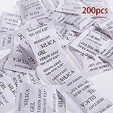 Lot de 200 sachets de gel de silice déshydratant absorbeur d'humidité et d'odeurs à utiliser pour la nourriture, les armoires