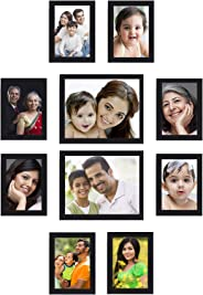 Amazon Brand - Solimo Collage Photo Frames, Set of 10,Wall Hanging (8 pcs - 5x7 inch, 2 pcs - 8x10 inch), Black