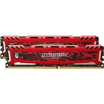 Ballistix Sport LT BLS2C16G4D240FSE  32Go Kit (16Gox2) (DDR4, 2400 MT/s, PC4-19200, DR x8, DIMM, 288-Pin) Mémoire - Rouge