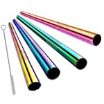 Haundry Extra Wide Reusable Stainless Steel Boba Smoothie Straws, 12mm Jumbo Metal Bubble Tea/Milkshakes Straws, Pack of...
