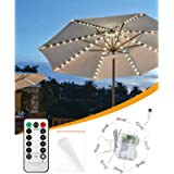 Gaoni Parasol Lights, 8 Modes Patio Umbrella Lights with 104 LEDs, Waterproof Garden Parasol Lights Battery Powered or…