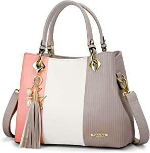 Women Handbags with Multiple Interior Pockets and Pretty Colour Combination(Pink/White/Light Grey)