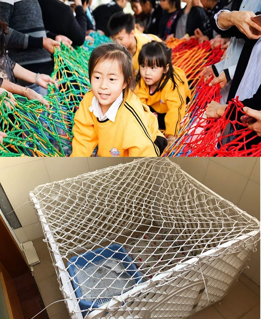 Child safety net protective net balcony stairs anti-fall net kindergarten color decorative net fence network Length 1M /9M Hand braided traditional structure (Size : 4m*5m)  [Protect children's safety]: Many children fall from the building, let us understand that the safety of children can not be ignored. [Polyester knotless woven mesh]: The mesh surface has large pulling force, and the double needle has no knot woven mesh hole, so that the mesh has stronger impact resistance. [wire diameter 4MM, mesh spacing 4CM]: Escort for baby safety.(Others available in our shop) 6