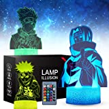 SJIAHEE 3 Pattern 16 Colors 3D Naruto Visual Anime Night Light with Birthday Xmas Festival Gifts for Boys Kids Room,Best Gift
