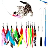 PawPawU Interactive Cat Toys, 12pcs Cat Feather Teaser Toy with 2 Retractable Wand & 10 Bird Feather and Worm Attachments, Mu
