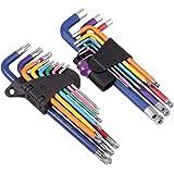 COLFULINE 18 st tvåpack lång kulände insexnyckel & Torx TRX stjärna flerfärgat skiftnyckelset T10, T15, T20, T25, T27, T30, T
