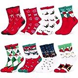Fixget Calcetines de Navidad, 8 Pares Navidad de invierno Calcetines de Algodón, Calcetines Térmicos de Navidad con Hombre Mu